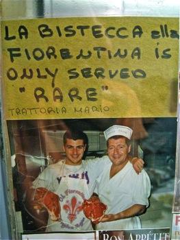 TV - sign at Trattoria Mario