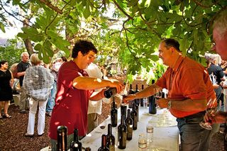 A- Charter Oak, David pours wine at the annual ZinArt Party