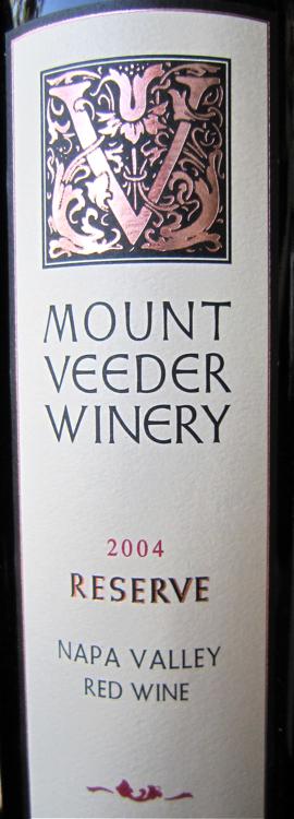 A - 2004 Mount Veeder Reserve Cab label