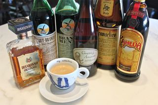 A - corretto, kitchen shot of liqueurs