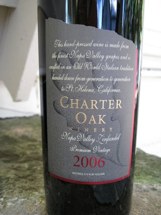 A - Tra Vigne - Charter Oak label close up