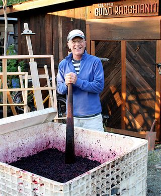 A - Tra Vigne - Jim, punching helping Rob punch down the grapes at Charter Oak
