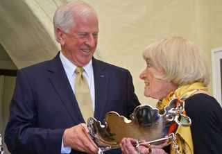 A - Margrit - Mike Thompson presents Margrit with Trophy