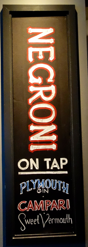 A - Negroni - Jaspers Negroni on Tap sign