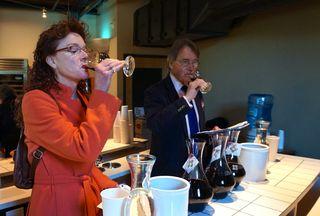 A - NVV - Karen MacNeil, author of The Wine Bible, and Steven Spurrier