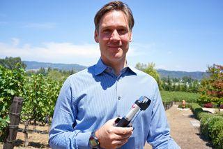 C - Greg Lambrecht with Coravin in vineyard