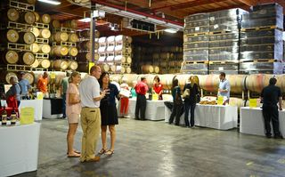 Rutherford - BV barrel room, where the trade tasting was held