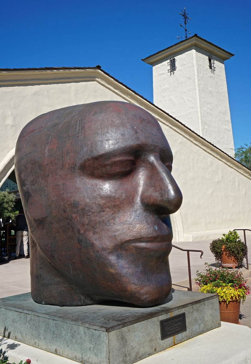 Bust of Bob outzide winery