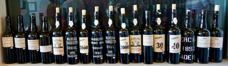 Line up of wine at Barbeito