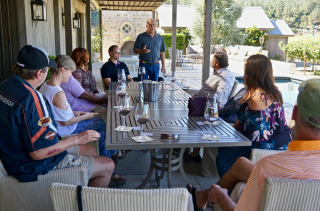 Rob sharing his wines with visitors