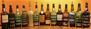 Wide shot of Madeira bottles