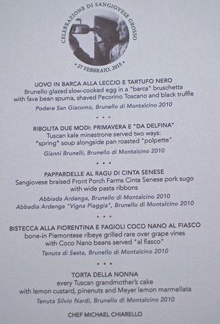 The 4-course dinner menu