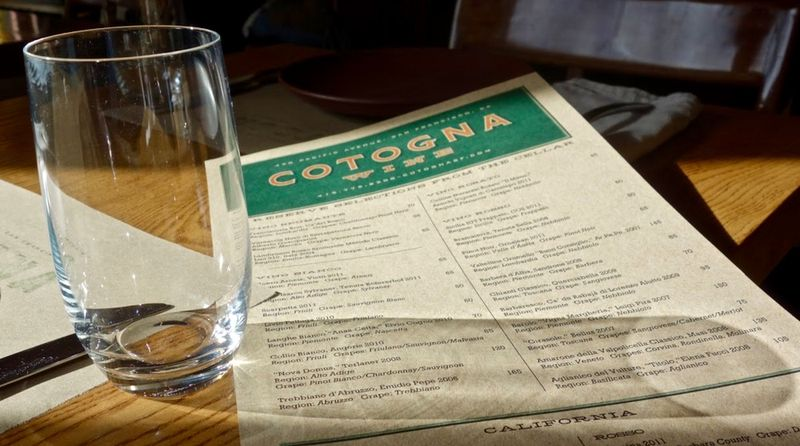 Cotogna Menu