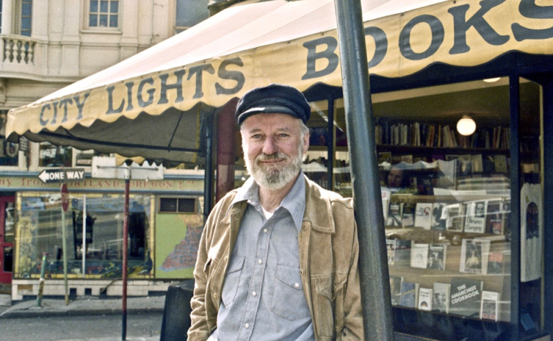 Lawrence Ferlinghetti out front of City Lights Books  San Francisco  1975