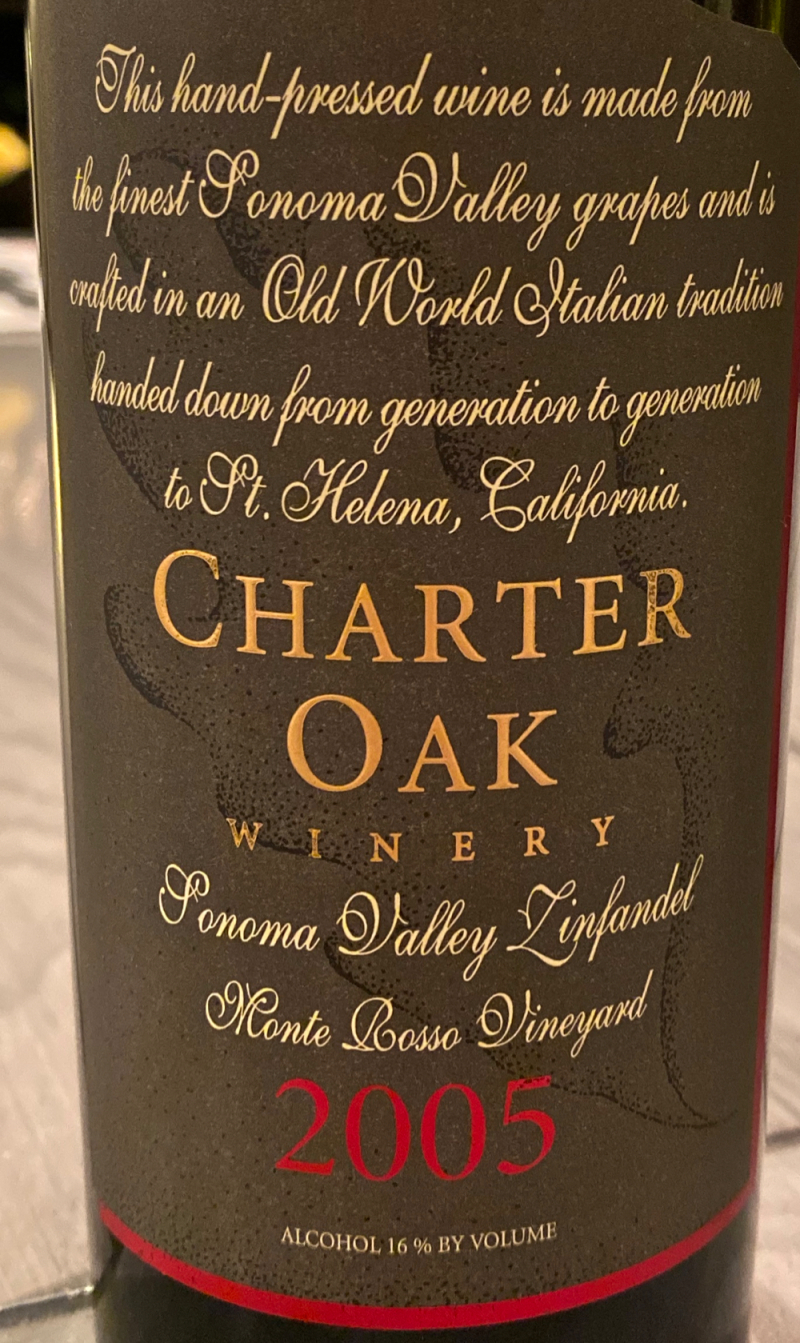 2005 Charter Oak Winery  Monte Rosso Vineyard  Zinfandel