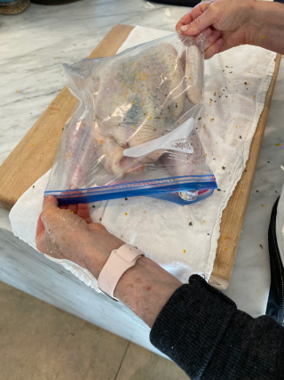 Dry brining in a sealable bag